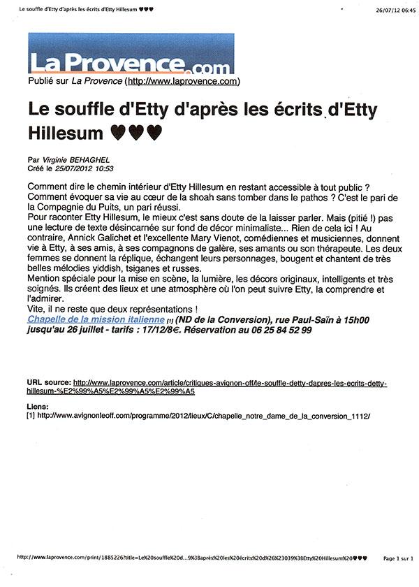 Article: La Provence 26 Juillet