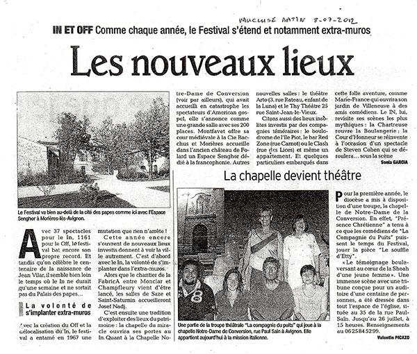 Article: Vaucluse Matin le 8 Juillet