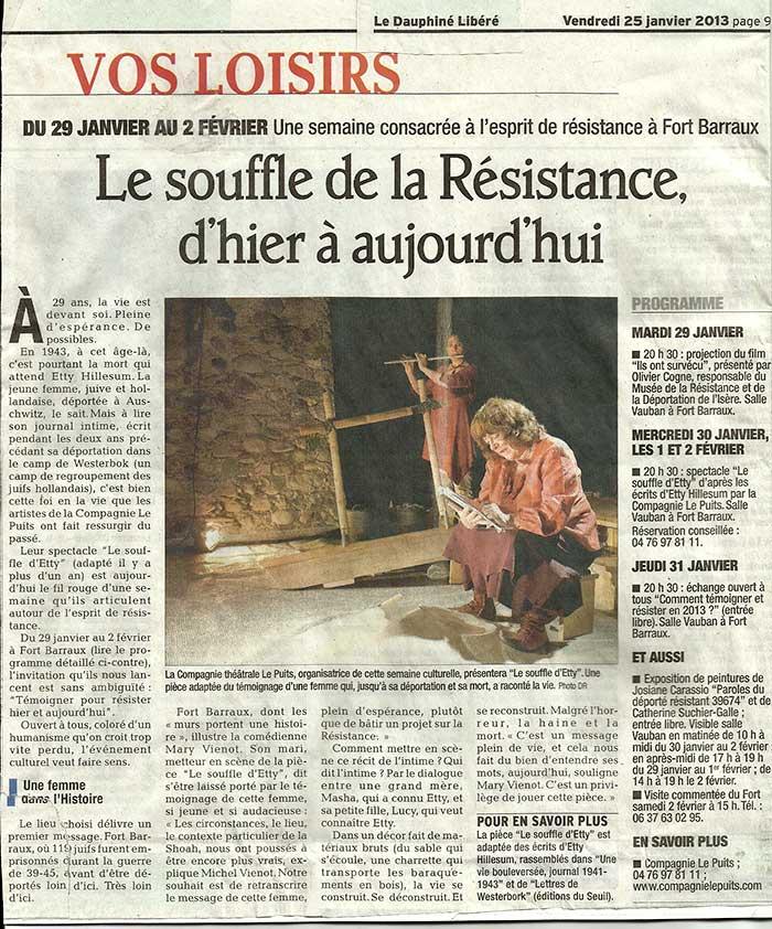Article: Le Dauphiné Libéré le 25 Janvier 2013